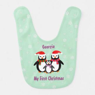 El primer navidad bilateral añade el trullo babero para bebé