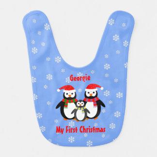 El primer navidad bilateral añade los pingüinos baberos de bebé