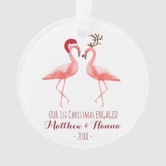 El primer navidad dedicó o casó flamencos adorno