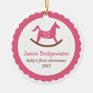El primer navidad del juguete del bebé oscilante r ornaments para arbol de navidad