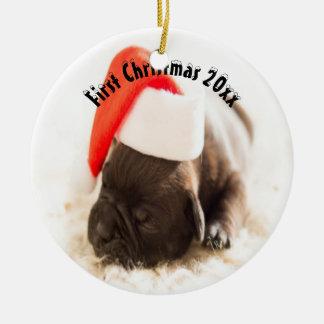 El primer navidad del perrito adorno de cerámica