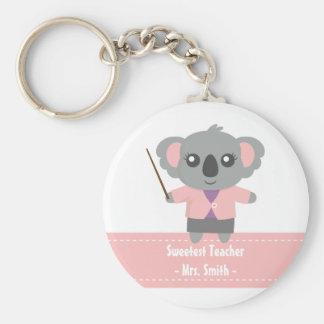 El profesor más dulce, oso de koala lindo, aprecio llavero redondo tipo chapa