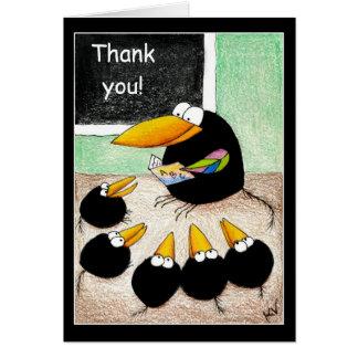 El profesor y los estudiantes le agradecen tarjeta