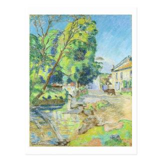 El pueblo (en colores pastel en el papel) postal