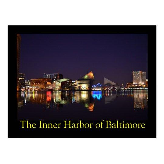 El puerto interno de Baltimore en la noche Postal