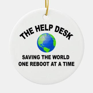 El puesto de informaciones - ahorro del mundo adorno navideño redondo de cerámica