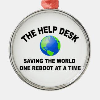 El puesto de informaciones - ahorro del mundo adorno navideño redondo de metal