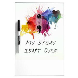 El punto y coma mi historia no ha terminado pizarra blanca