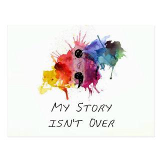 El punto y coma mi historia no ha terminado postal