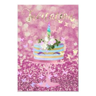 El purpurina del fiesta del unicornio de la torta invitación 8,9 x 12,7 cm