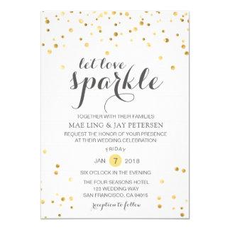 El purpurina del oro dejó la invitación del boda