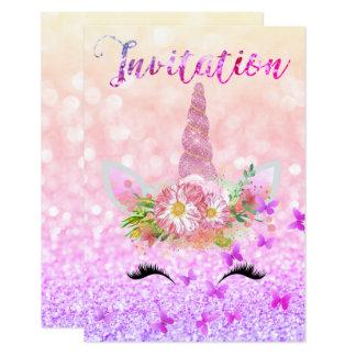 El purpurina subió cara del oro del unicornio invitación 8,9 x 12,7 cm