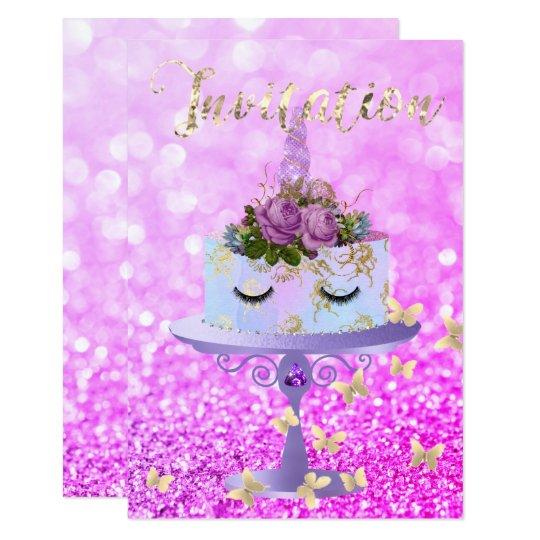 El purpurina subió unicornio del oro de la torta invitación 8,9 x 12,7 cm
