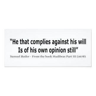Él que cumple contra el suyo por Samuel Butler Invitación 10,1 X 23,5 Cm