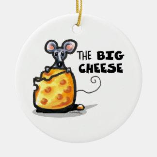 El queso grande adorno redondo de cerámica