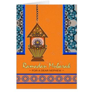El Ramadán Mubarak para el sobrino, linterna de Tarjeta De Felicitación