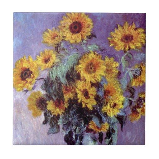El ramo de girasoles, Monet, vintage florece arte Azulejos Cerámicos