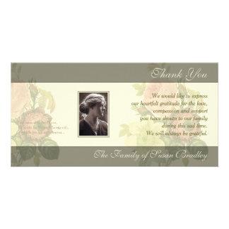 El ramo del vintage con condolencia del marco le tarjeta fotográfica personalizada
