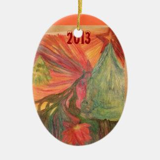 El rastro en el ornamento del carril 2013 de adorno navideño ovalado de cerámica