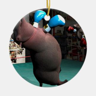 El ratón bate el hipopótamo KO Adorno De Cerámica