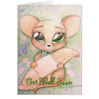El ratón lindo consigue pronto la tarjeta bien