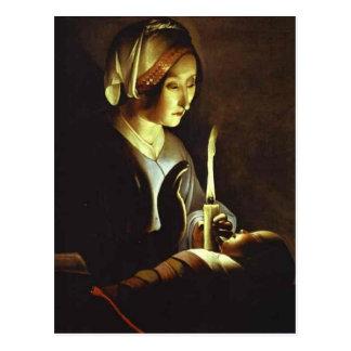 El recién nacido y la Virgen en lino por el viaje  Tarjeta Postal