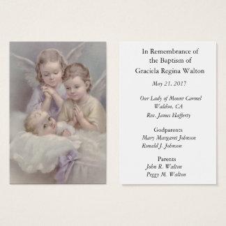 El recuerdo bautismal de la conmemoración del bebé tarjeta de negocios
