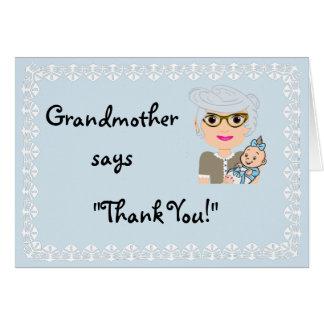 El regalo de la ducha de la abuela le agradece tarjeta