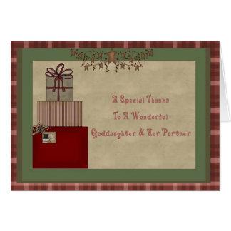 El regalo del navidad de la ahijada y del socio le tarjeta de felicitación