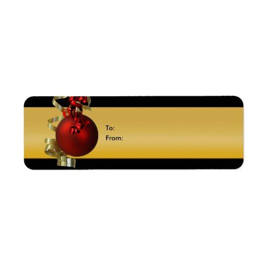 El regalo del ornamento del navidad marca el oro d etiqueta de remitente