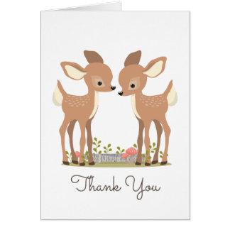 El regalo dulce del bebé del gemelo de los ciervos tarjeta pequeña