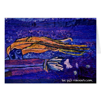 el regalo (pintura): el pensamiento en usted carda tarjeta de felicitación