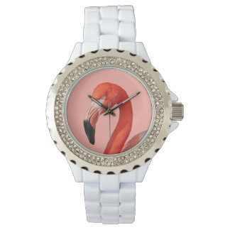 El reloj del flamenco de la mujer rosada de la