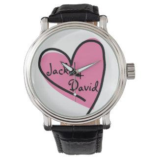 El reloj retro del amante rosado del corazón