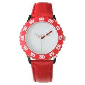 El reloj rojo del acero inoxidable del niño con
