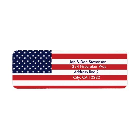 El remite de la bandera de los E.E.U.U. etiqueta Etiqueta De Remite