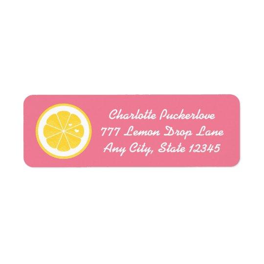 El remite del corazón rosado del limón etiqueta a etiquetas de remite