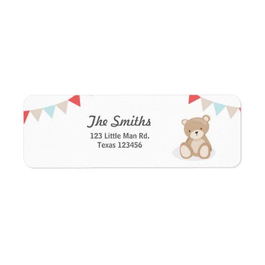 El remite del oso de peluche etiqueta blanco etiquetas de remite