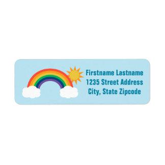 El remite etiqueta diseño del arco iris del |