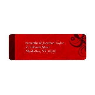 El remite floral del gótico rojo oscuro etiqueta etiqueta de remite