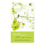 El remolino floral del hibisco verde elegante trag tarjeta personal