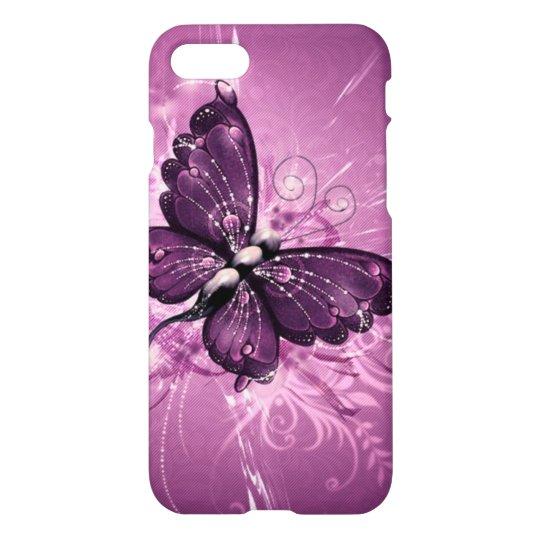 el remolino hermoso de la púrpura buterfly alinea funda para iPhone 7