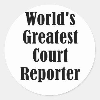 El reportero de corte más grande de los mundos pegatina redonda