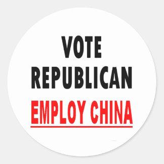 El republicano del voto emplea China Etiquetas Redondas
