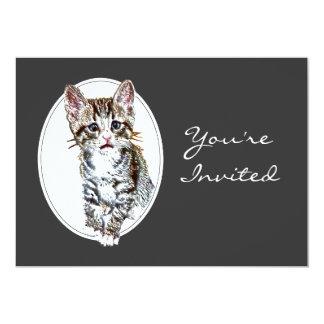 El retiro de encargo invita al pequeño gato dulce invitación 12,7 x 17,8 cm