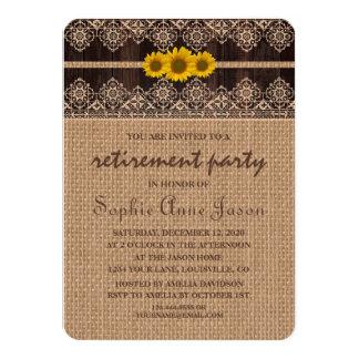 El retiro de madera de la arpillera rústica del invitación 11,4 x 15,8 cm