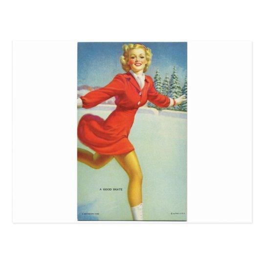 El retrato de los años 40 - patín del pinup postal