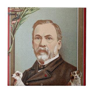 El retrato famoso de Louis Pasteur histórico Azulejo Cuadrado Pequeño