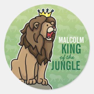 El rey del león de la selva añade el nombre del n etiquetas redondas