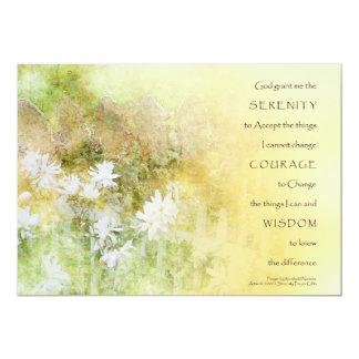 El rezo de la serenidad cerca las flores invitación 12,7 x 17,8 cm